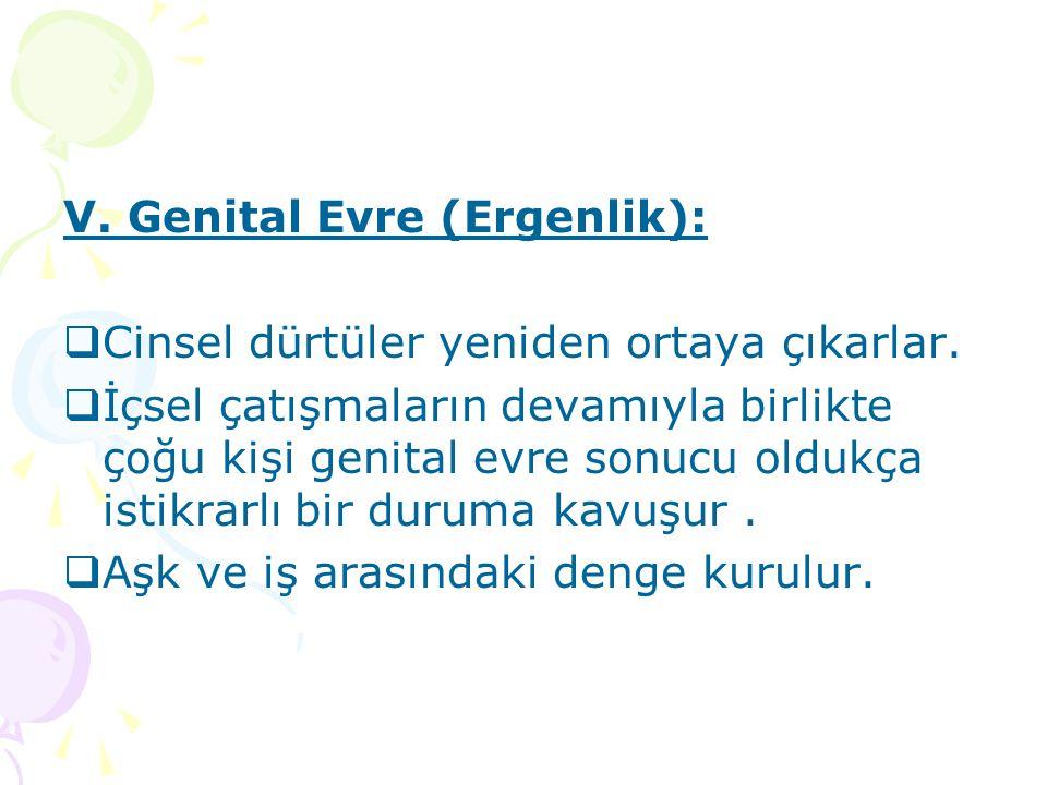 V. Genital Evre (Ergenlik):  Cinsel dürtüler yeniden ortaya çıkarlar.  İçsel çatışmaların devamıyla birlikte çoğu kişi genital evre sonucu oldukça i