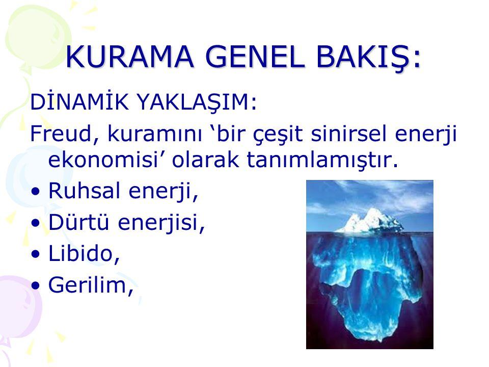 KURAMA GENEL BAKIŞ: DİNAMİK YAKLAŞIM: Freud, kuramını 'bir çeşit sinirsel enerji ekonomisi' olarak tanımlamıştır. Ruhsal enerji, Dürtü enerjisi, Libid
