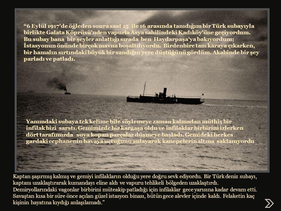 6 Eylül 1917 de öğleden sonra saat 15 ile 16 arasında tanıdığım bir Türk subayıyla birlikte Galata Köprüsü nden vapurla Asya sahilindeki Kadıköy üne geçiyordum.