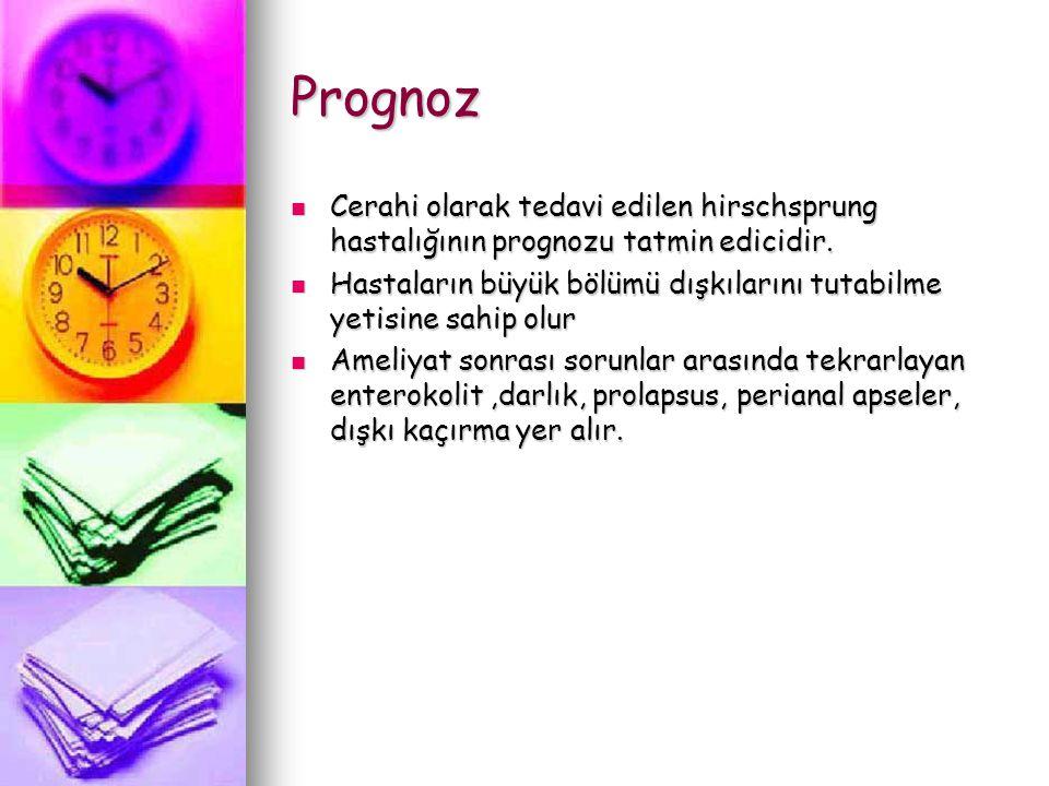 Prognoz Cerahi olarak tedavi edilen hirschsprung hastalığının prognozu tatmin edicidir. Cerahi olarak tedavi edilen hirschsprung hastalığının prognozu