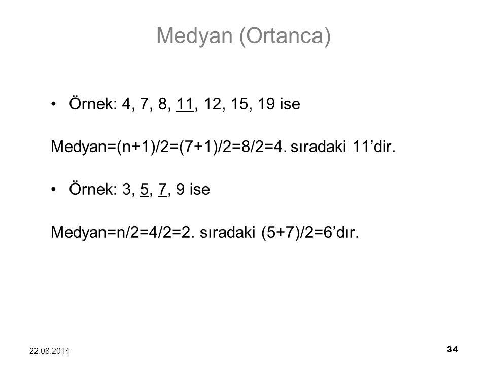 34 22.08.2014 34 Medyan (Ortanca) Örnek: 4, 7, 8, 11, 12, 15, 19 ise Medyan=(n+1)/2=(7+1)/2=8/2=4. sıradaki 11'dir. Örnek: 3, 5, 7, 9 ise Medyan=n/2=4