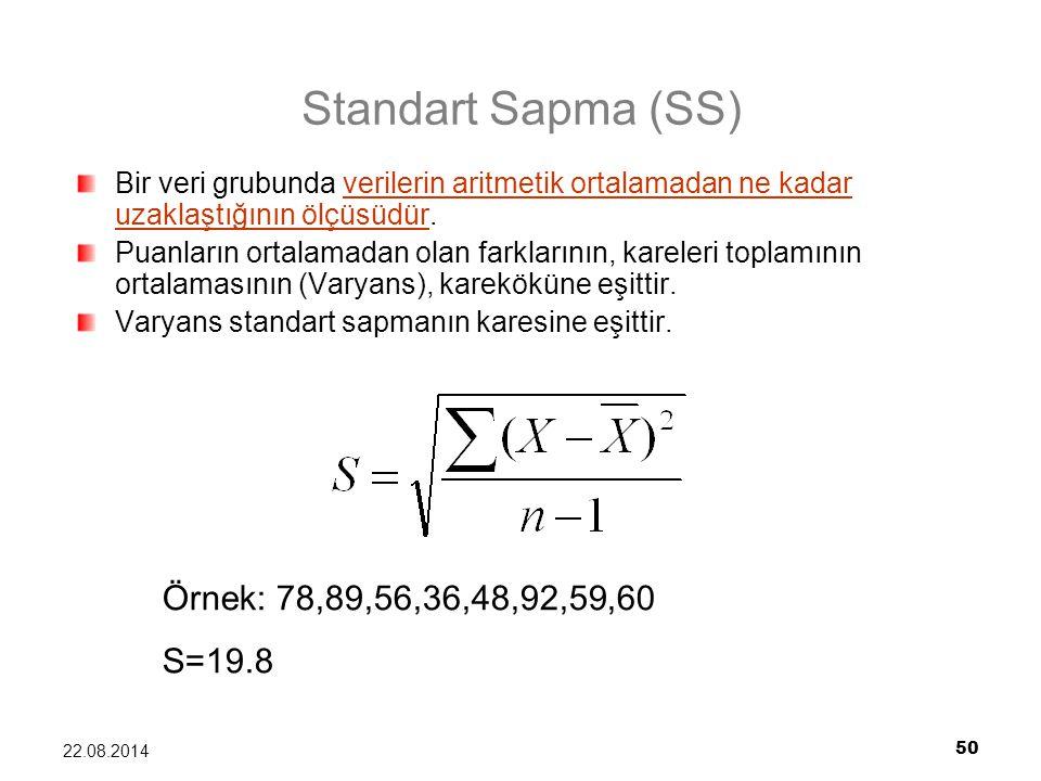 50 22.08.2014 Standart Sapma (SS) Bir veri grubunda verilerin aritmetik ortalamadan ne kadar uzaklaştığının ölçüsüdür. Puanların ortalamadan olan fark