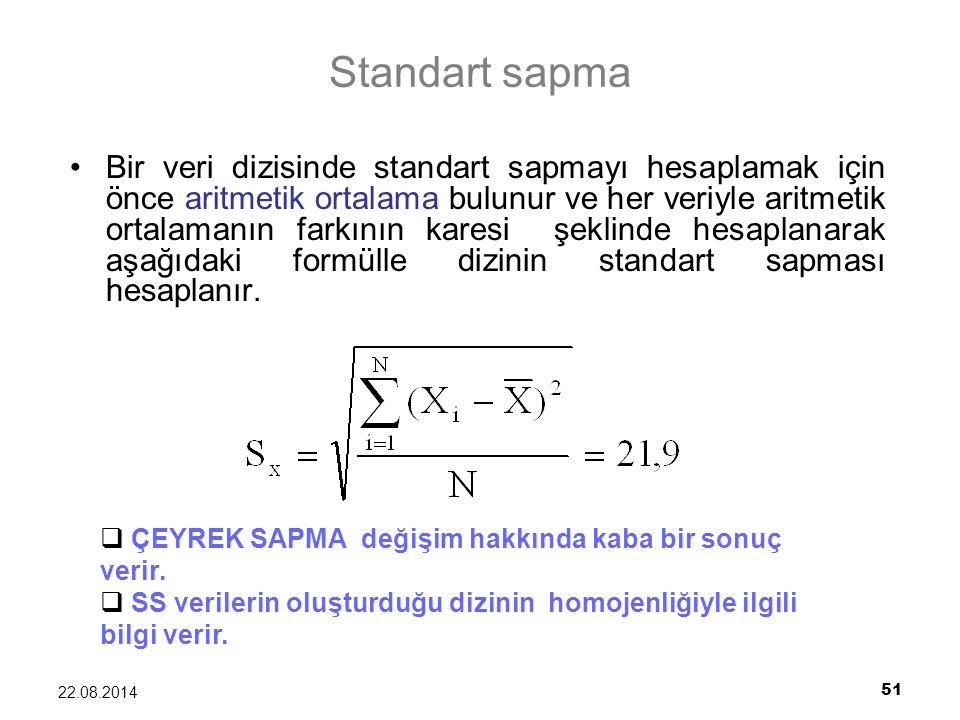 51 22.08.2014 Standart sapma Bir veri dizisinde standart sapmayı hesaplamak için önce aritmetik ortalama bulunur ve her veriyle aritmetik ortalamanın