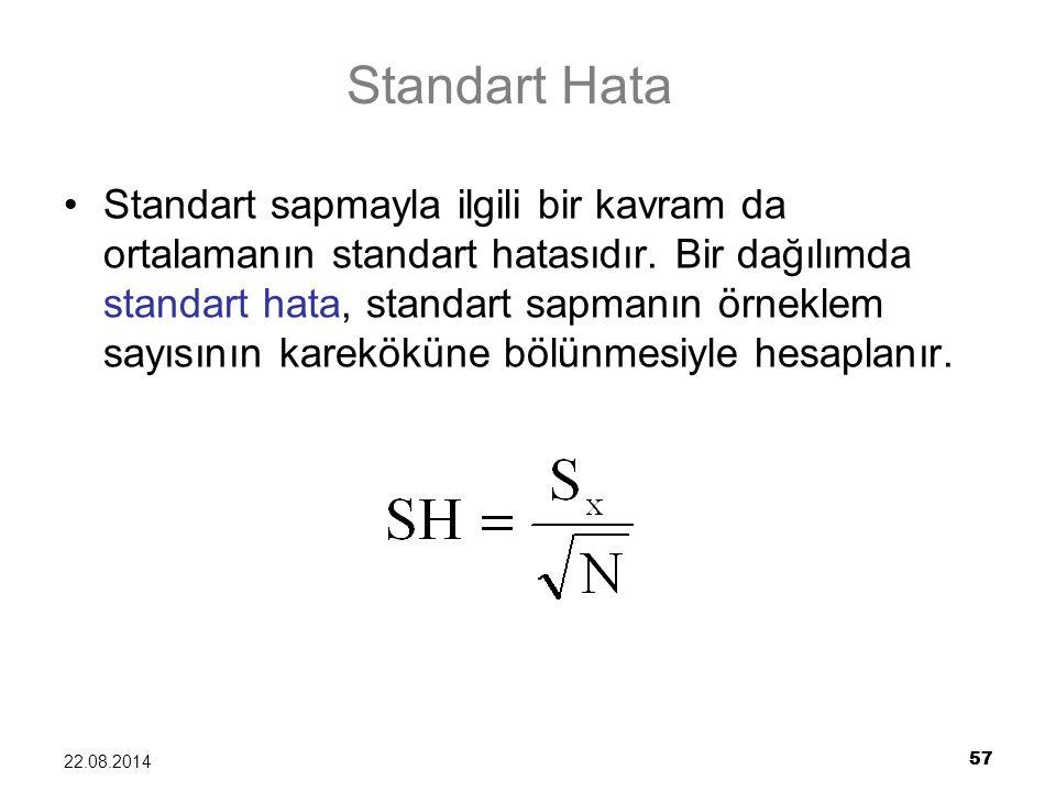 57 22.08.2014 Standart Hata Standart sapmayla ilgili bir kavram da ortalamanın standart hatasıdır. Bir dağılımda standart hata, standart sapmanın örne
