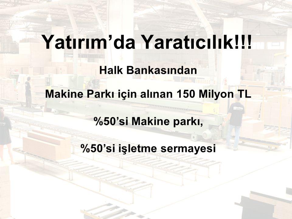Halk Bankasından Makine Parkı için alınan 150 Milyon TL %50'si Makine parkı, %50'si işletme sermayesi Yatırım'da Yaratıcılık!!!