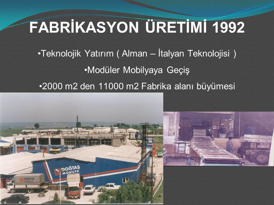 FABRİKASYON ÜRETİMİ 1992 Teknolojik Yatırım ( Alman – İtalyan Teknolojisi ) Modüler Mobilyaya Geçiş 2000 m2 den 11000 m2 Fabrika alanı büyümesi