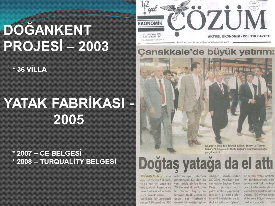 DOĞANKENT PROJESİ – 2003 * 36 VİLLA YATAK FABRİKASI - 2005 * 2007 – CE BELGESİ * 2008 – TURQUALİTY BELGESİ