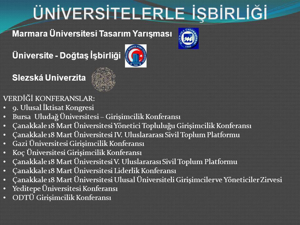 Marmara Üniversitesi Tasarım Yarışması Üniversite - Doğtaş İşbirliği Slezská Univerzita VERDİĞİ KONFERANSLAR: 9.