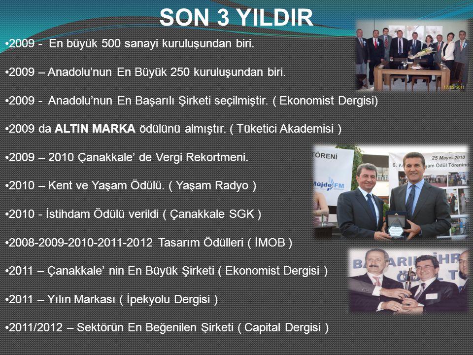 2009 - En büyük 500 sanayi kuruluşundan biri. 2009 – Anadolu'nun En Büyük 250 kuruluşundan biri.