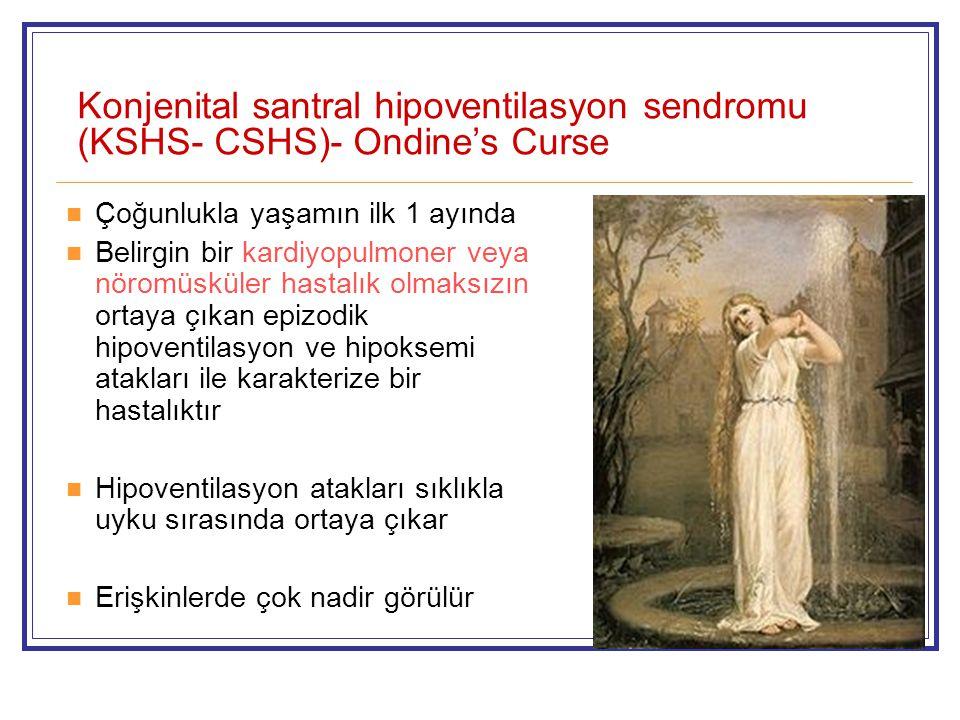 Konjenital santral hipoventilasyon sendromu (KSHS- CSHS)- Ondine's Curse Çoğunlukla yaşamın ilk 1 ayında Belirgin bir kardiyopulmoner veya nöromüsküler hastalık olmaksızın ortaya çıkan epizodik hipoventilasyon ve hipoksemi atakları ile karakterize bir hastalıktır Hipoventilasyon atakları sıklıkla uyku sırasında ortaya çıkar Erişkinlerde çok nadir görülür