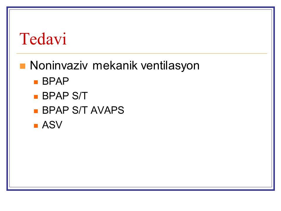 Tedavi Noninvaziv mekanik ventilasyon BPAP BPAP S/T BPAP S/T AVAPS ASV