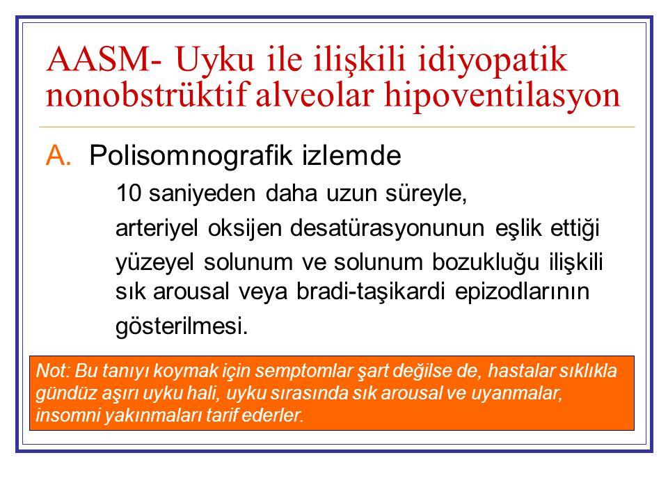 AASM- Uyku ile ilişkili idiyopatik nonobstrüktif alveolar hipoventilasyon A.Polisomnografik izlemde 10 saniyeden daha uzun süreyle, arteriyel oksijen desatürasyonunun eşlik ettiği yüzeyel solunum ve solunum bozukluğu ilişkili sık arousal veya bradi-taşikardi epizodlarının gösterilmesi.