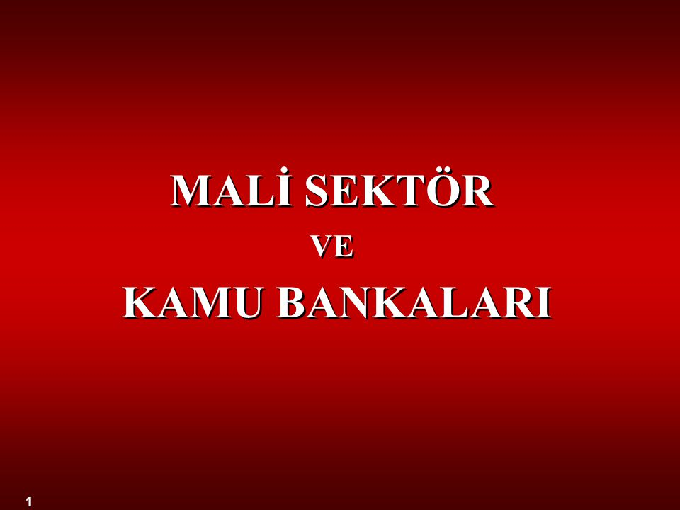 1 MALİ SEKTÖR VE KAMU BANKALARI