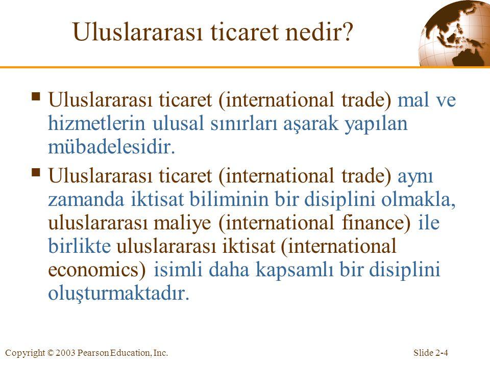 Slide 2-4Copyright © 2003 Pearson Education, Inc.Uluslararası ticaret nedir.