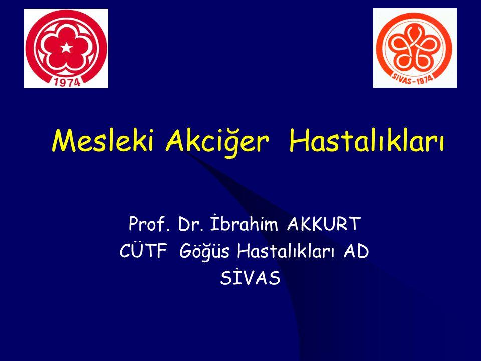 Mesleki Akciğer Hastalıkları Prof. Dr. İbrahim AKKURT CÜTF Göğüs Hastalıkları AD SİVAS