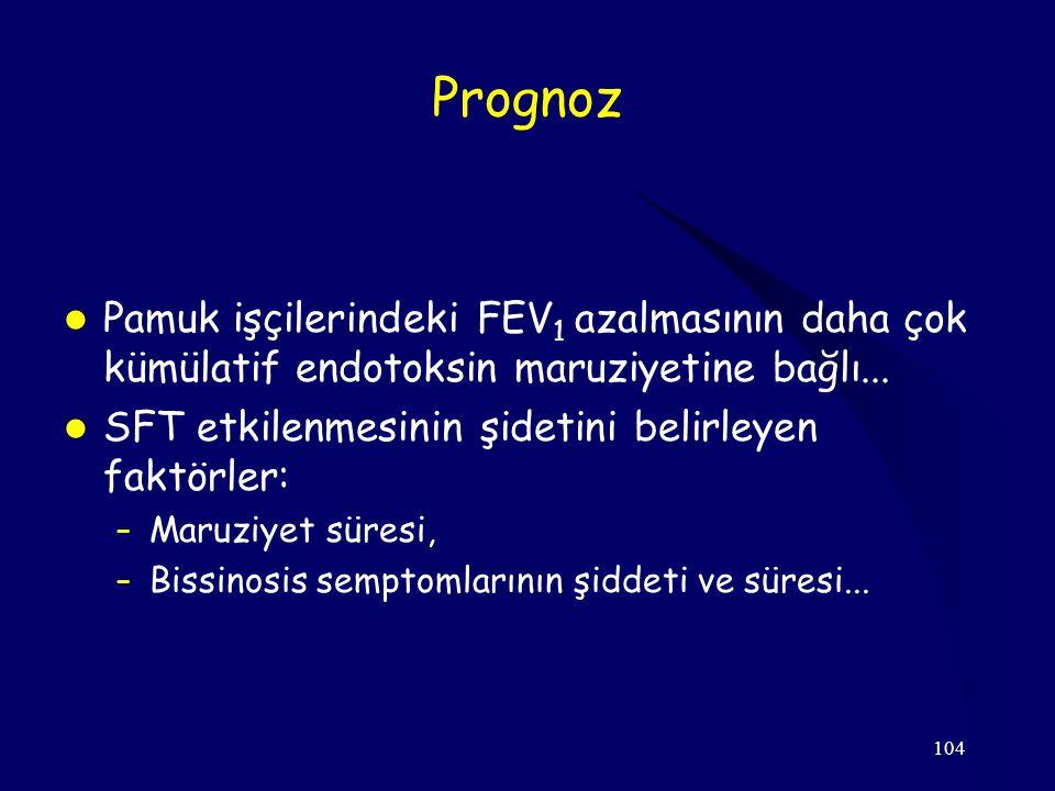 104 Prognoz Pamuk işçilerindeki FEV 1 azalmasının daha çok kümülatif endotoksin maruziyetine bağlı... SFT etkilenmesinin şidetini belirleyen faktörler
