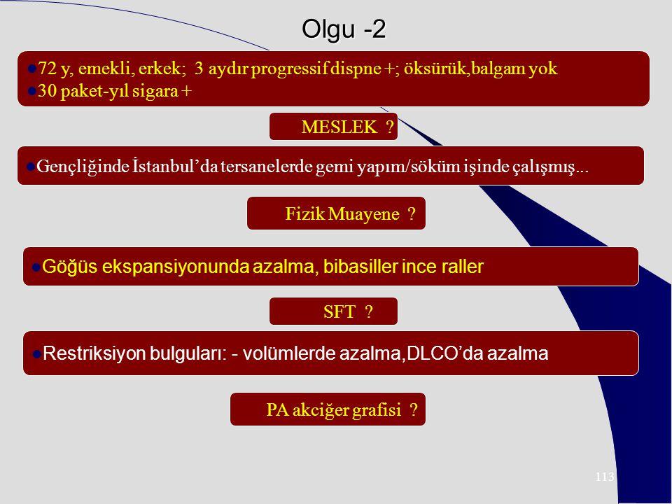 113 Olgu -2 72 y, emekli, erkek; 3 aydır progressif dispne +; öksürük,balgam yok 30 paket-yıl sigara + Gençliğinde İstanbul'da tersanelerde gemi yapım/söküm işinde çalışmış...
