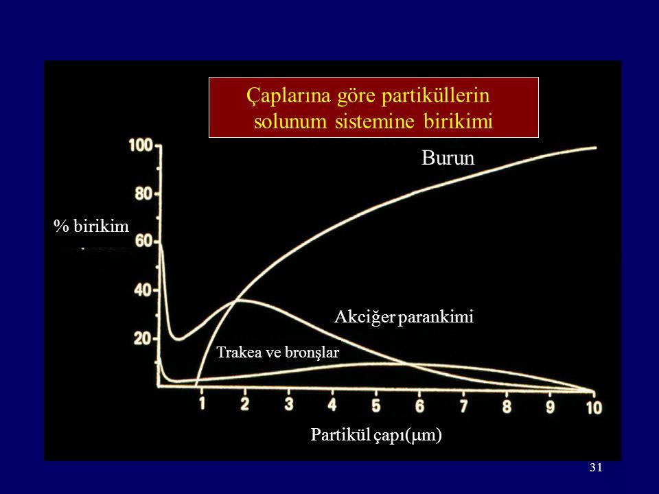 31 Çaplarına göre partiküllerin solunum sistemine birikimi % birikim Trakea ve bronşlar Akciğer parankimi Burun Partikül çapı(  m)