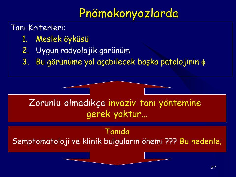 57 Pnömokonyozlarda Tanı Kriterleri: 1.Meslek öyküsü 2.Uygun radyolojik görünüm 3.Bu görünüme yol açabilecek başka patolojinin  Zorunlu olmadıkça inv