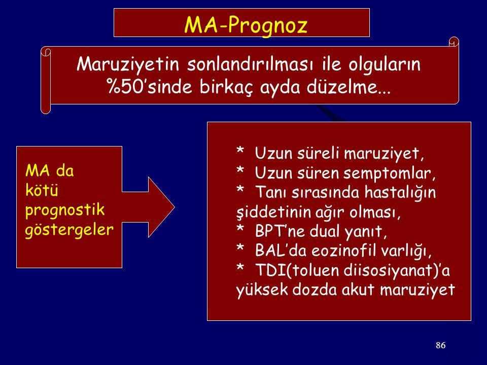 86 MA-Prognoz Maruziyetin sonlandırılması ile olguların %50'sinde birkaç ayda düzelme... MA da kötü prognostik göstergeler * Uzun süreli maruziyet, *