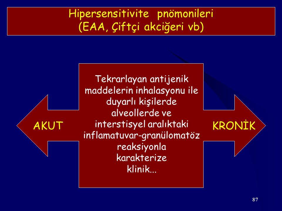 87 Hipersensitivite pnömonileri (EAA, Çiftçi akciğeri vb) Tekrarlayan antijenik maddelerin inhalasyonu ile duyarlı kişilerde alveollerde ve interstisy