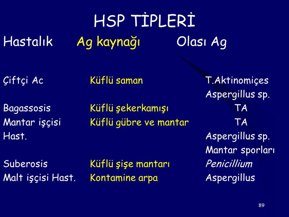 89 HSP TİPLERİ Hastalık Ag kaynağıOlası Ag Çiftçi AcKüflü saman T.Aktinomiçes Aspergillus sp. BagassosisKüflü şekerkamışı TA Mantar işçisi Küflü gübre
