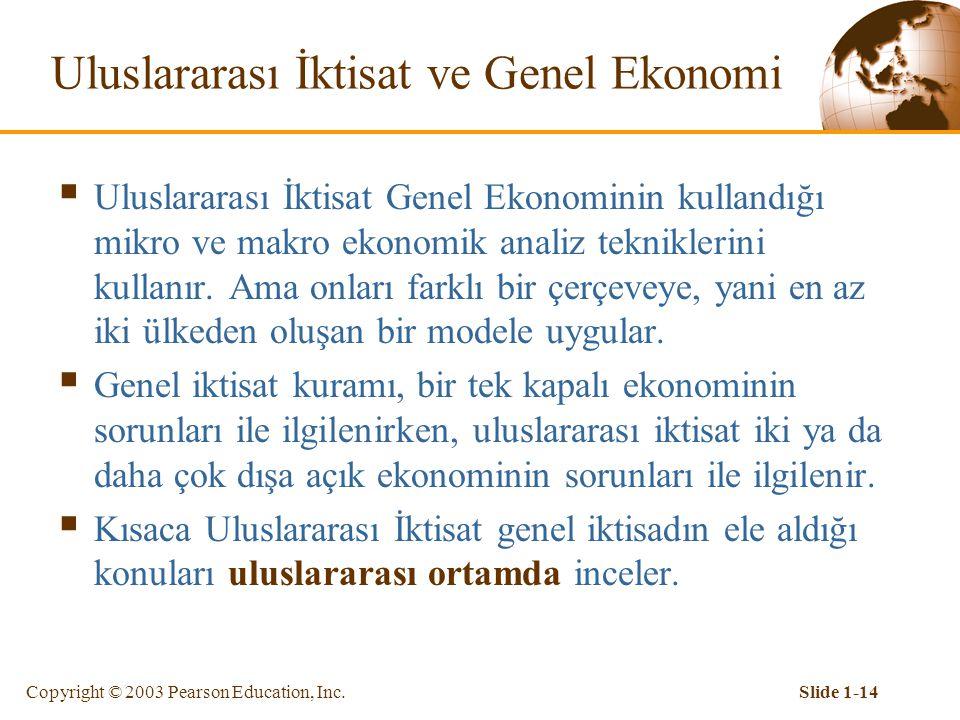Copyright © 2003 Pearson Education, Inc.Slide 1-14 Uluslararası İktisat ve Genel Ekonomi  Uluslararası İktisat Genel Ekonominin kullandığı mikro ve makro ekonomik analiz tekniklerini kullanır.