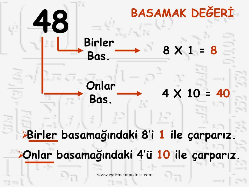 Basamaklardaki her rakamı bulunduğu basamağın değeri ile çarparız. BASAMAK DEĞERİNİ NASIL HESAPLARIZ? www.egitimcininadresi.com