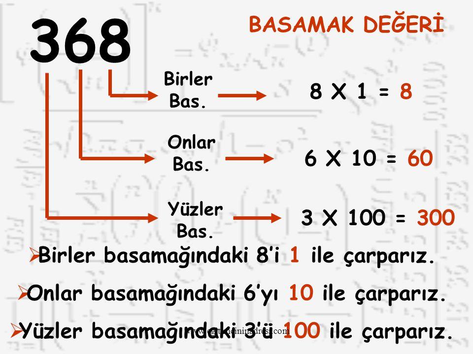 YÜZLER BAS. ONLAR BAS. BİRLER BAS. 137 1 Yüzlük3 Onluk7 Birlik 1 X 1003 X 107 X 1 100307 137 www.egitimcininadresi.com