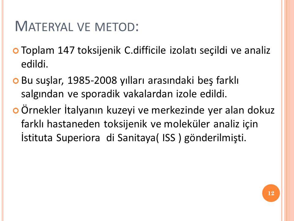 M ATERYAL VE METOD : Toplam 147 toksijenik C.difficile izolatı seçildi ve analiz edildi. Bu suşlar, 1985-2008 yılları arasındaki beş farklı salgından