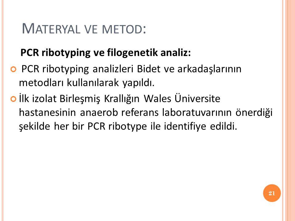 M ATERYAL VE METOD : PCR ribotyping ve filogenetik analiz: PCR ribotyping analizleri Bidet ve arkadaşlarının metodları kullanılarak yapıldı. İlk izola