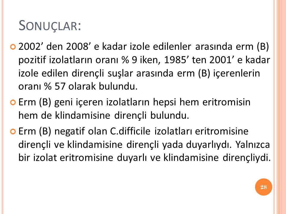S ONUÇLAR : 2002' den 2008' e kadar izole edilenler arasında erm (B) pozitif izolatların oranı % 9 iken, 1985' ten 2001' e kadar izole edilen dirençli