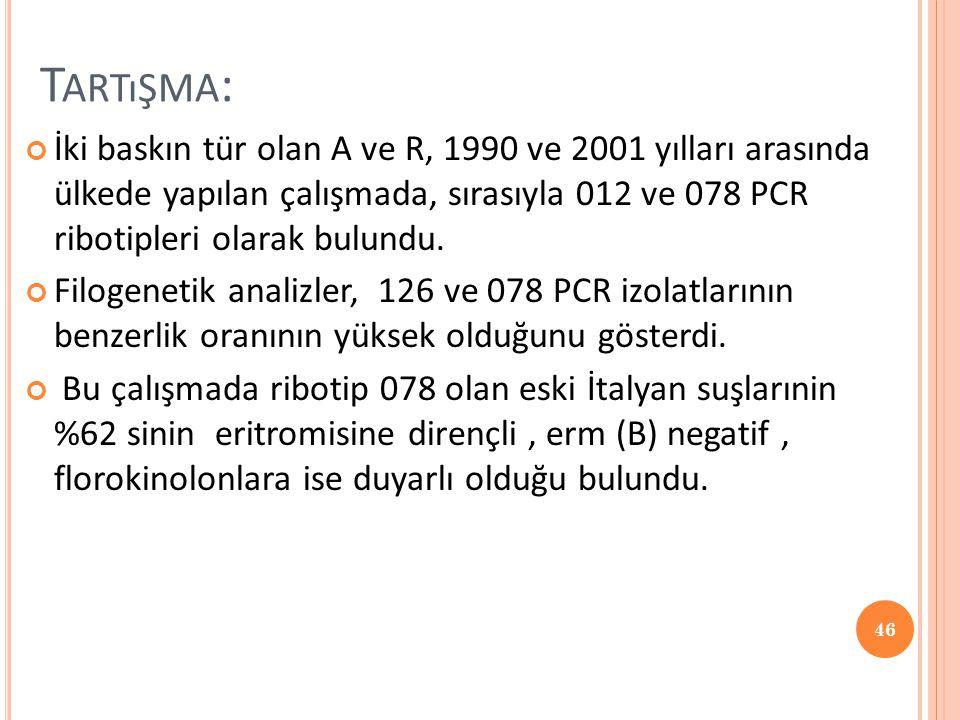 T ARTıŞMA : İki baskın tür olan A ve R, 1990 ve 2001 yılları arasında ülkede yapılan çalışmada, sırasıyla 012 ve 078 PCR ribotipleri olarak bulundu. F