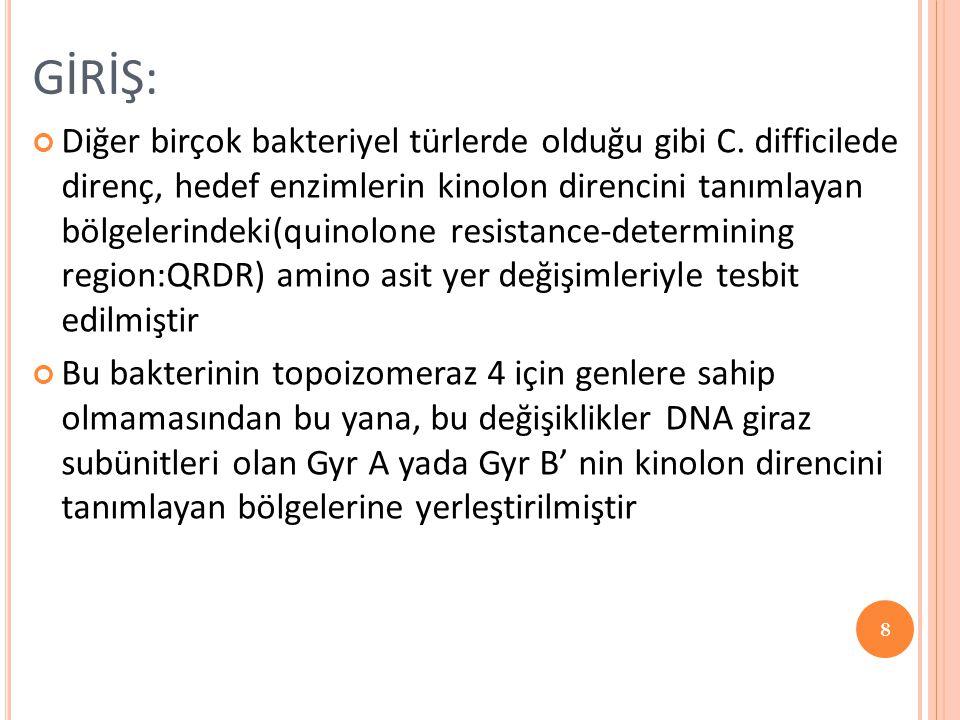 GİRİŞ: Diğer birçok bakteriyel türlerde olduğu gibi C. difficilede direnç, hedef enzimlerin kinolon direncini tanımlayan bölgelerindeki(quinolone resi