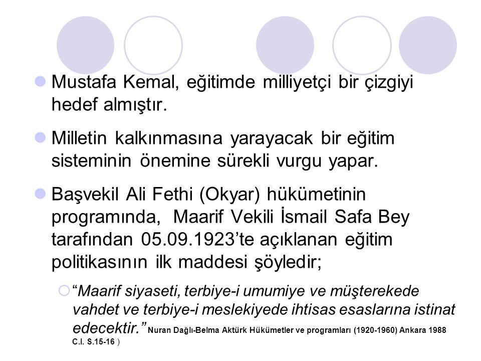 Mustafa Kemal, eğitimde milliyetçi bir çizgiyi hedef almıştır. Milletin kalkınmasına yarayacak bir eğitim sisteminin önemine sürekli vurgu yapar. Başv