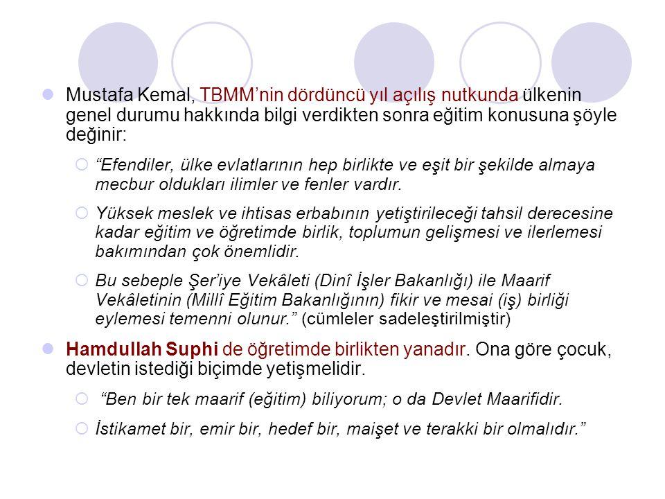 """Mustafa Kemal, TBMM'nin dördüncü yıl açılış nutkunda ülkenin genel durumu hakkında bilgi verdikten sonra eğitim konusuna şöyle değinir:  """"Efendiler,"""