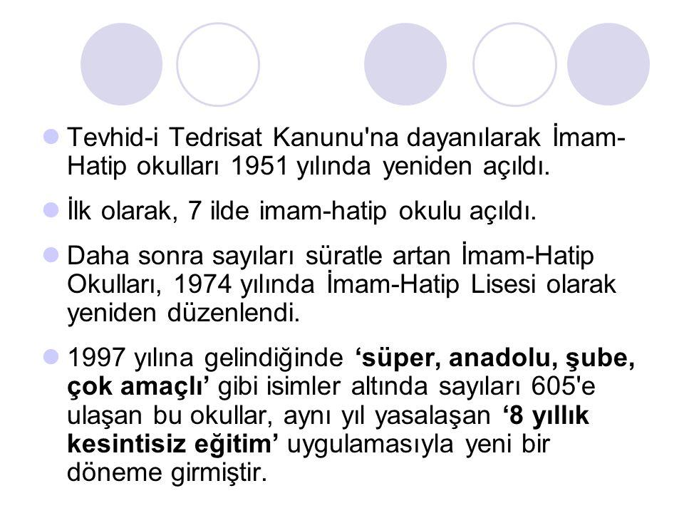 Tevhid-i Tedrisat Kanunu'na dayanılarak İmam- Hatip okulları 1951 yılında yeniden açıldı. İlk olarak, 7 ilde imam-hatip okulu açıldı. Daha sonra sayıl