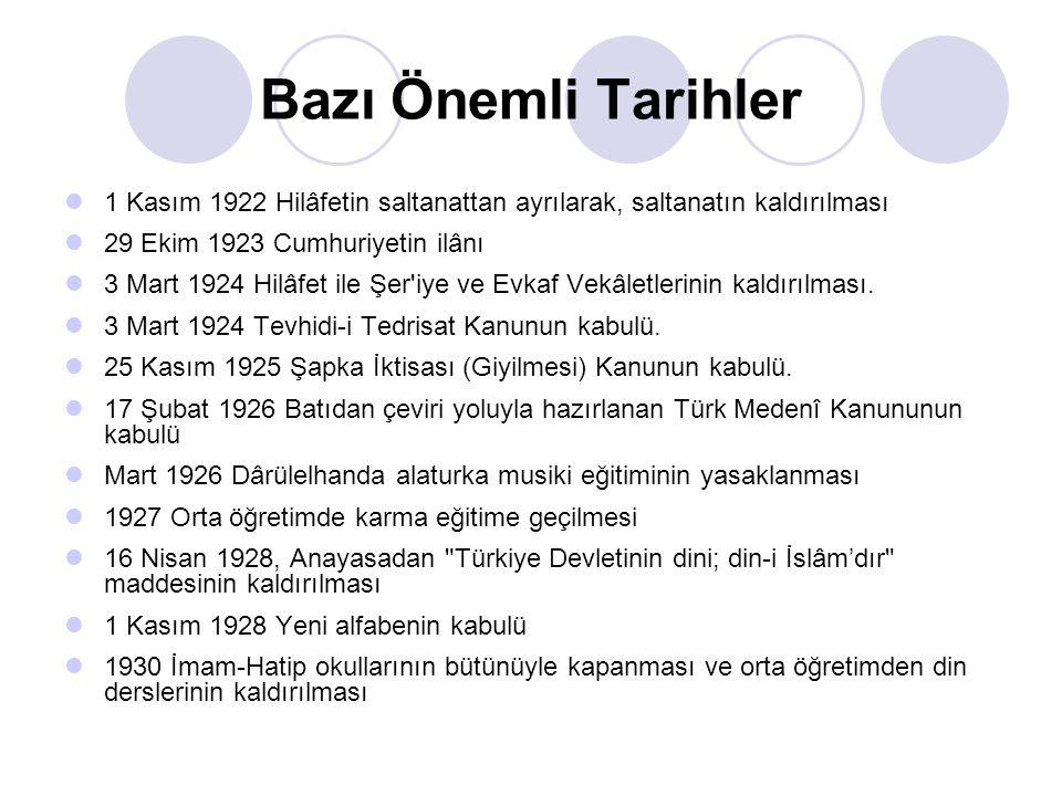 Bazı Önemli Tarihler 1 Kasım 1922 Hilâfetin saltanattan ayrılarak, saltanatın kaldırılması 29 Ekim 1923 Cumhuriyetin ilânı 3 Mart 1924 Hilâfet ile Şer