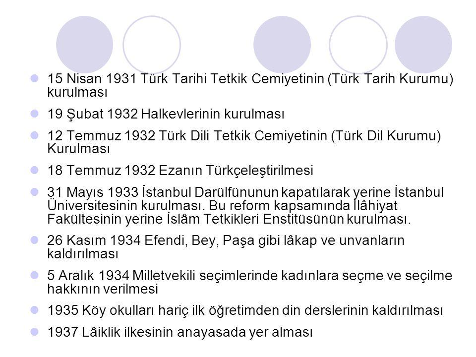 15 Nisan 1931 Türk Tarihi Tetkik Cemiyetinin (Türk Tarih Kurumu) kurulması 19 Şubat 1932 Halkevlerinin kurulması 12 Temmuz 1932 Türk Dili Tetkik Cemiy