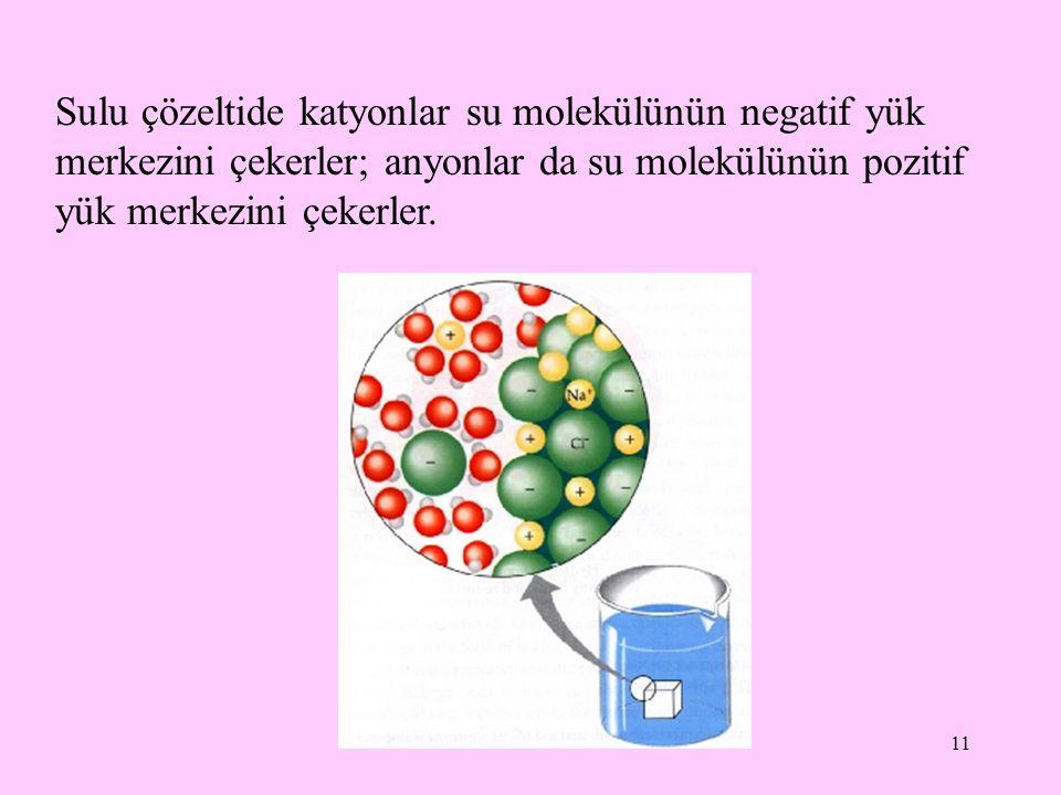 11 Sulu çözeltide katyonlar su molekülünün negatif yük merkezini çekerler; anyonlar da su molekülünün pozitif yük merkezini çekerler.