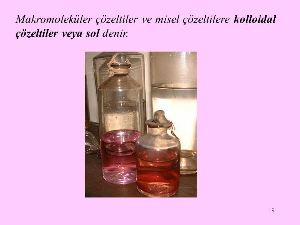 19 Makromoleküler çözeltiler ve misel çözeltilere kolloidal çözeltiler veya sol denir.