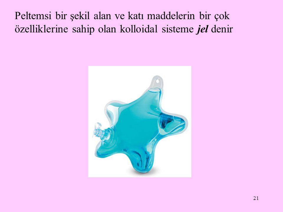 21 Peltemsi bir şekil alan ve katı maddelerin bir çok özelliklerine sahip olan kolloidal sisteme jel denir
