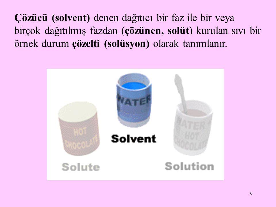 9 Çözücü (solvent) denen dağıtıcı bir faz ile bir veya birçok dağıtılmış fazdan (çözünen, solüt) kurulan sıvı bir örnek durum çözelti (solüsyon) olarak tanımlanır.