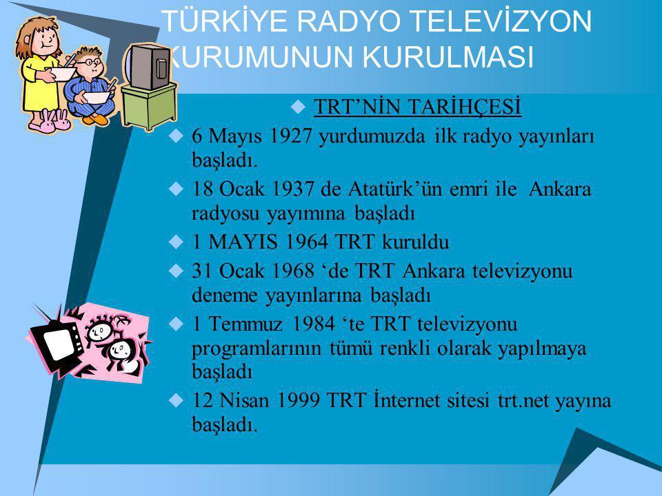 TÜRKİYE RADYO TELEVİZYON KURUMUNUN KURULMASI  TRT'NİN TARİHÇESİ  6 Mayıs 1927 yurdumuzda ilk radyo yayınları başladı.