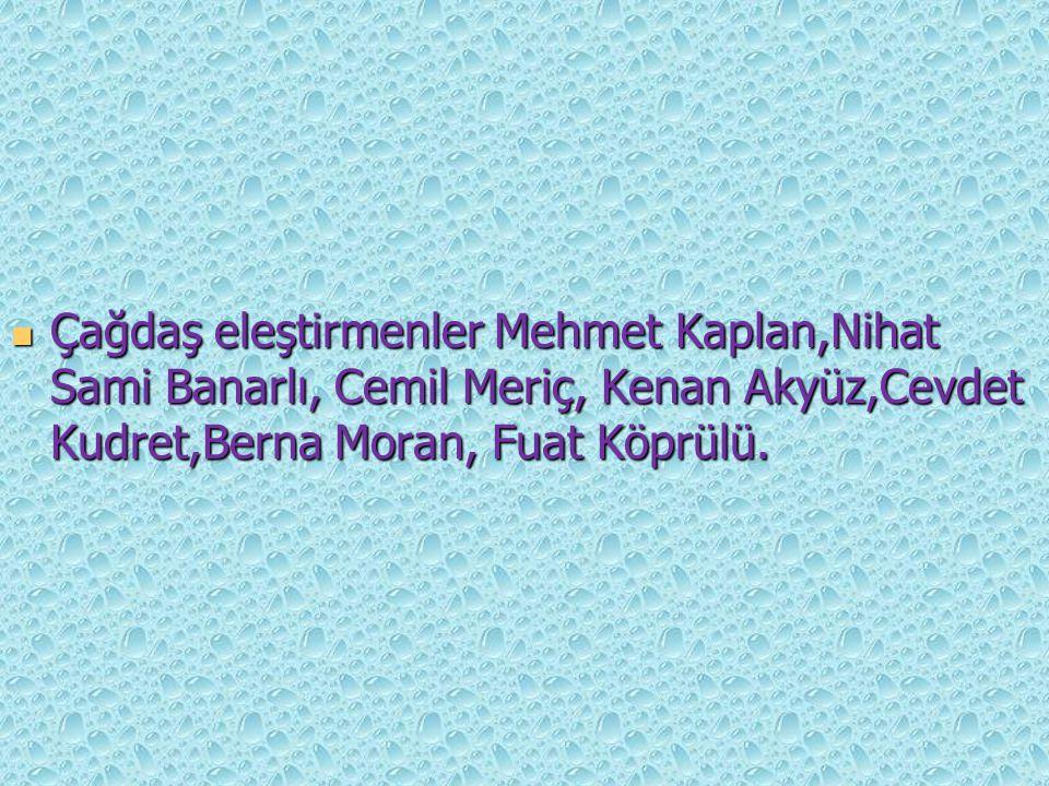 Çağdaş eleştirmenler Mehmet Kaplan,Nihat Sami Banarlı, Cemil Meriç, Kenan Akyüz,Cevdet Kudret,Berna Moran, Fuat Köprülü. Çağdaş eleştirmenler Mehmet K