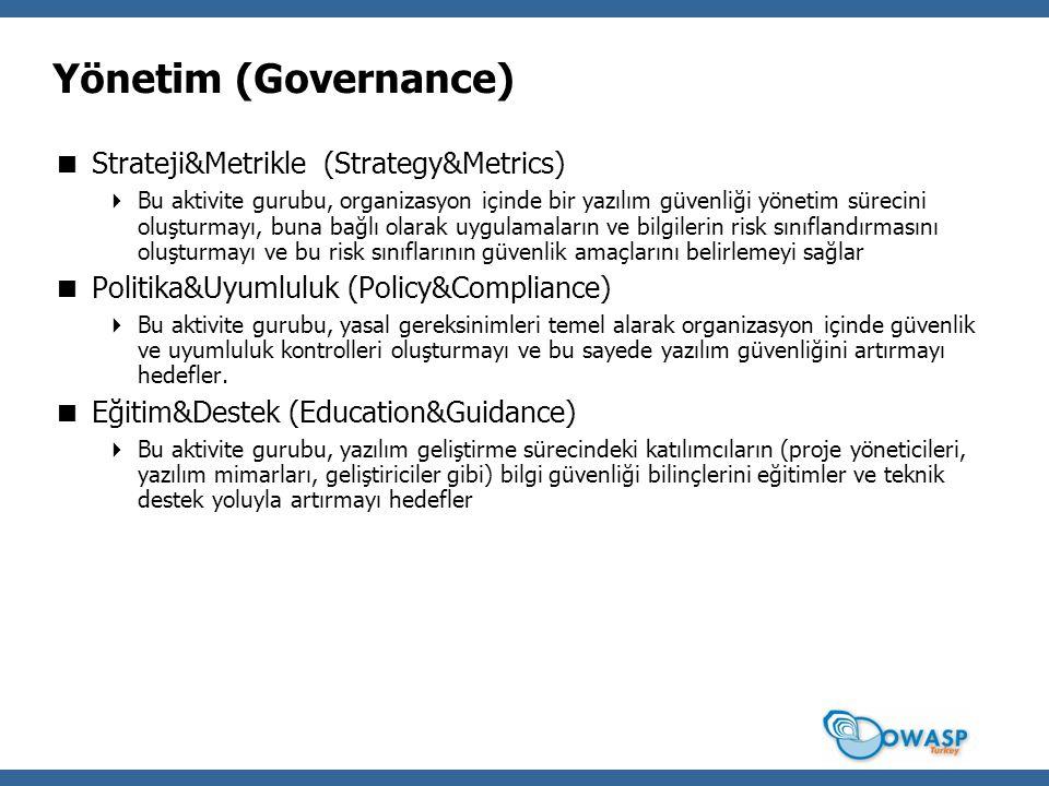 Yönetim (Governance)  Strateji&Metrikle (Strategy&Metrics)  Bu aktivite gurubu, organizasyon içinde bir yazılım güvenliği yönetim sürecini oluşturmayı, buna bağlı olarak uygulamaların ve bilgilerin risk sınıflandırmasını oluşturmayı ve bu risk sınıflarının güvenlik amaçlarını belirlemeyi sağlar  Politika&Uyumluluk (Policy&Compliance)  Bu aktivite gurubu, yasal gereksinimleri temel alarak organizasyon içinde güvenlik ve uyumluluk kontrolleri oluşturmayı ve bu sayede yazılım güvenliğini artırmayı hedefler.