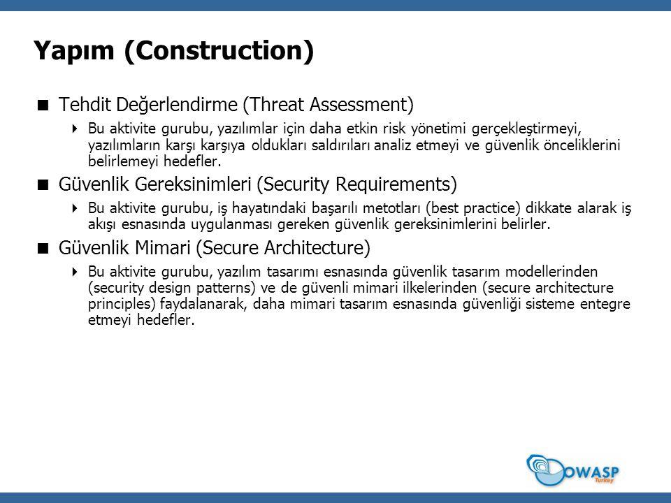 Yapım (Construction)  Tehdit Değerlendirme (Threat Assessment)  Bu aktivite gurubu, yazılımlar için daha etkin risk yönetimi gerçekleştirmeyi, yazılımların karşı karşıya oldukları saldırıları analiz etmeyi ve güvenlik önceliklerini belirlemeyi hedefler.