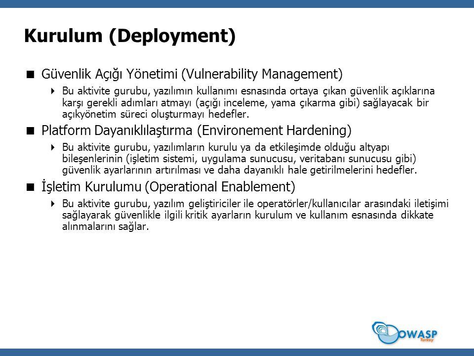 Kurulum (Deployment)  Güvenlik Açığı Yönetimi (Vulnerability Management)  Bu aktivite gurubu, yazılımın kullanımı esnasında ortaya çıkan güvenlik aç