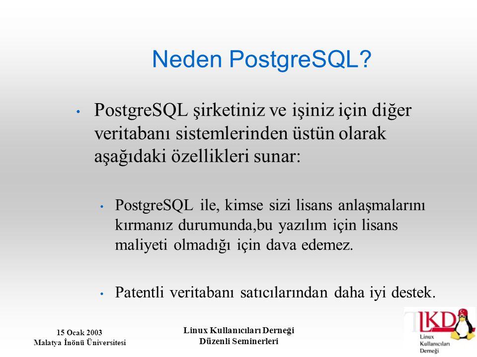 15 Ocak 2003 Malatya İnönü Üniversitesi Linux Kullanıcıları Derneği Düzenli Seminerleri Neden PostgreSQL? PostgreSQL şirketiniz ve işiniz için diğer v