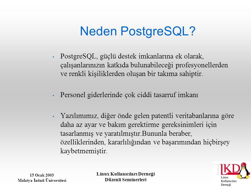 15 Ocak 2003 Malatya İnönü Üniversitesi Linux Kullanıcıları Derneği Düzenli Seminerleri Neden PostgreSQL? PostgreSQL, güçlü destek imkanlarına ek olar